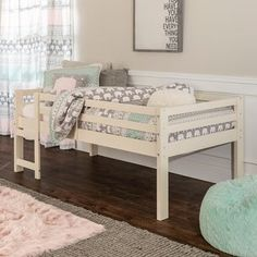 Shop for Taylor & Olive Browning Twin Low Loft Bed. Get free delivery On EVERYTHING* Overstock - Your Online Furniture Outlet Store! Low Bunk Beds, Safe Bunk Beds, Loft Design, Bed Design, Junior Loft Beds, Daybed With Storage, Car Bed, Bedroom Loft, Girls Bedroom