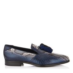 8323c68e59f Jimmy Choo Foxley Natural and Ink Striped Matt Python Loafers with Tassels