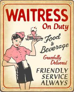 Waitress on Duty Sign / Retro Diner Decor New Retro… 50s Diner Kitchen, Diner Menu, Diner Sign, Diner Party, 1950s Diner, Vintage Diner, Retro Diner, Diner Nyc, Retro Cafe