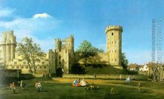 Warwick Castle: The East Front - Canaletto, Giovanni (Italian, 1697 - Fine Art Reproductions, Oil Painting Reproductions - Art for Sale at Bohemain Fine Art Renaissance, Jean Antoine Watteau, Rome, Birmingham Museum, Birmingham England, La Reproduction, Castle Painting, Warwick Castle, England