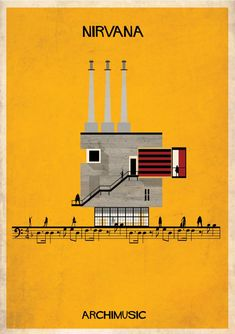"ARCHIMUSIC: Illustrations Turn Music Into Architecture - Federico Babina / Nirvana, ""Smells Like Teen Spirit"""
