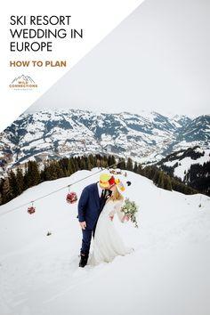 How To Plan A Ski Resort Winter Wedding In Europe Ski Wedding, Church Wedding, Elope Wedding, Dream Wedding, Ski Mountain, Ski Season, Mountain Elopement, Elopement Inspiration, Alps
