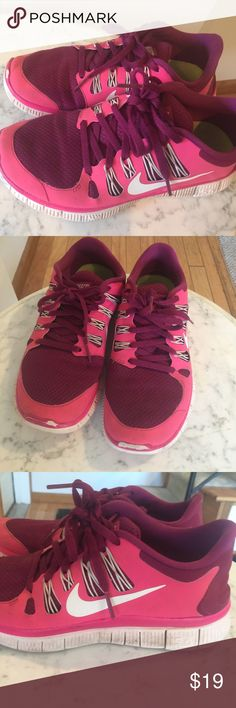 Ladies size 7 Sharp Pink Sneakers! Very good condition they are very sharp pair of sneakers; they're pretty pink with maroon  on top! Nike Shoes Sneakers