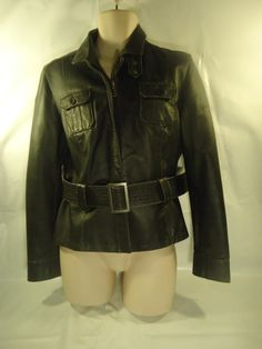 Women's Puma Belted Leather Jacket Gray Coat Biker Motorcycle-XL SHIPS FREE #PUMA #Motorcycle