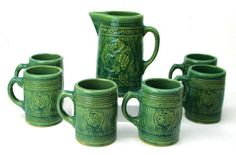 Vintage Nelson McCoy Green Molded Stoneware Beer Set Pitcher Six Mugs Grapes