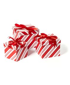 Red & White Stripe Nesting Gift Box Set by It's in the Bag #zulily #zulilyfinds