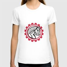 Armor War Horse Head Gear Retro T-shirt. Illustration of a war horse in armor head side view set inside circle and gear teeth shape on isolated white background done in retro style. #illustration #ArmorWarHorse