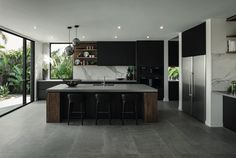 Modern Kitchen Interior Remodeling - Contemporary display home located in Sorento, Queensland, Australia, designed by Metricon. Modern Kitchen Cabinets, Kitchen Flooring, Kitchen Modern, Minimal Kitchen, Kitchen Countertops, Island Kitchen, Kitchen Appliances, Rustic Kitchen, Kitchen Backsplash