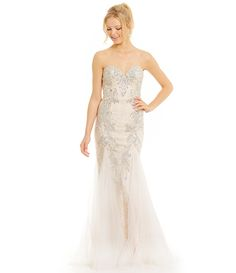 3e90b92a4f JVN by Jovani Strapless Bead Embellished Trumpet Gown