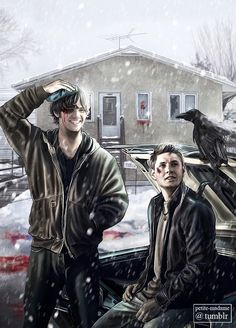 The Winchester Brothers fanart Supernatural Drawings, Supernatural Fan Art, Supernatural Imagines, Supernatural Wallpaper, Supernatural Background, Winchester Brothers, Sam Winchester, Destiel, Fanart