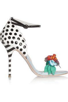 Adorable and playful polka-dot heeled sandal! ...jw Sophia Webster|Lilico flower-embellished leather sandals |NET-A-PORTER.COM  $595