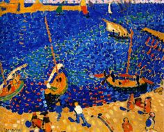 Boats at Collioure - Andre Derain - 1905 / Style: Fauvism, Pointillism Andre Derain, Henri Matisse, Raoul Dufy, Art Fauvisme, Maurice De Vlaminck, Oil Painting Gallery, Georges Braque, Post Impressionism, Oil Painting Reproductions
