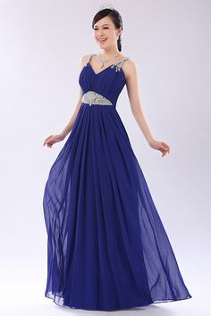Fabulous A-Line Beading Straps Long Prom Dress.
