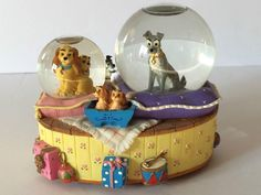 Disney Lady and the Tramp Snowglobe Collectible Musical Globe Plays  Fur Elise