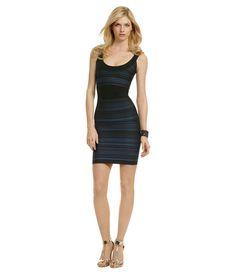 Herve Leger Black with blue stripes Instant Chemistry Dress