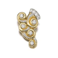 GOLD, PLATINUM AND DIAMOND CLIP, 'SPIRE', SUZANNE BELPERRON, 1943 Of scroll design, collet-set with circular-cut diamonds, the top decorated...