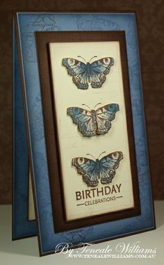 handmade birthday card ... tall and thin format ... blues ... trio of stamped and cut out butterflies ... lovely card!