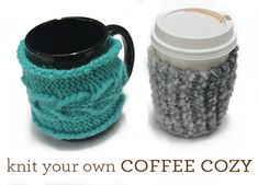 As an obsessive coffee drinker, I love handmade coffee cozies! No matter what your style is, you can knit or crochet your own cozy in just a few easy steps. Yarn Projects, Knitting Projects, Crochet Projects, Yarn Crafts, Sewing Crafts, Diy Crafts, Loom Knitting, Knitting Patterns, Knitting Ideas