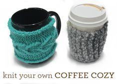 Create your own #DIY #knit coffee cozy! #tutorial