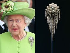 QUEEN VICTORIA FRINGE BROOCH This star-like diamond with strings of diamonds attached was made for Queen Victoria in 1856 by Garrard & Co. from diamonds she had been given by the Sultan of Turkey. The brooch has been worn by every Queen that has followed her.  And a fabulous hat!