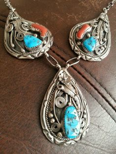 Sterling Silver Turquoise and Coral Necklace Native American Gorgeous L K | eBay
