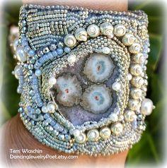 Jewelry, Bead Embroidered Cuff, Beaded Bracelet, Pearl Cuff, Druzy Quartz cuff, Statement Cuff,  Gem Funky Jewelry, Beaded Jewelry, Beaded Bracelets, Unique Jewelry, Druzy Quartz, Beaded Embroidery, Gems, Pearls, Trending Outfits