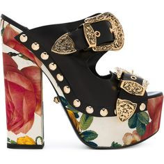 Fausto Puglisi Roses Print Platform Sandals (£810) ❤ liked on Polyvore featuring shoes, sandals, heels, leather platform sandals, black platform sandals, leather sandals, leather footwear and black platform shoes