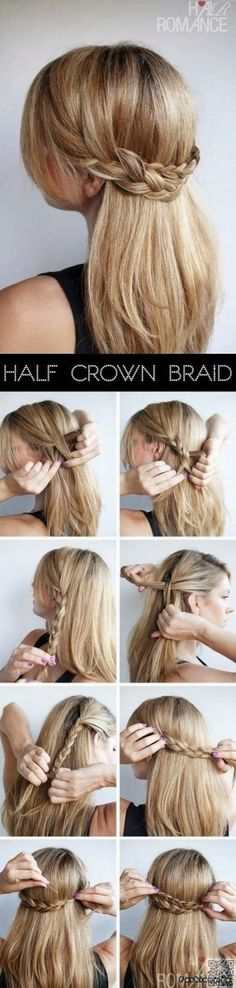 22. #Half-Crown Braid - So #Sweet for Summer! Try #These 23 Half up,… #French