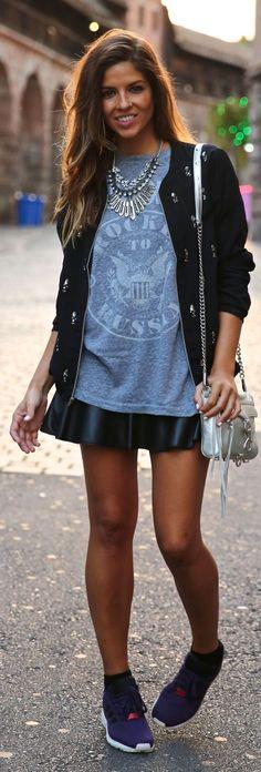 Black Embellished Bomber Jacket by TrendyTaste