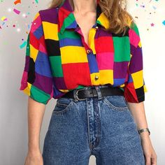 Aesthetic clothes - Old Fashion Geometric patterns Coloring Long Sleeve Shirt nicolemove com – Aesthetic clothes Indie Outfits, Retro Outfits, Cute Casual Outfits, 80s Inspired Outfits, 80s Style Outfits, Women's Casual, 90s Style, Indie Clothes, 90s Clothes