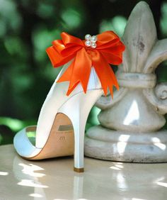 Pearls and Orange Bow Shoe Clips