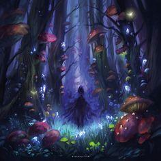Dark Mushroom Forest, Nele Diel on ArtStation at https://www.artstation.com/artwork/m1RAE
