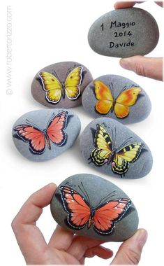 Painted Rock with Yellow Butterfly Original Yellow Butterfly Pebble Painting, Pebble Art, Stone Painting, Painting Art, Rock Painting Patterns, Rock Painting Designs, Stone Crafts, Rock Crafts, Rock Kunst