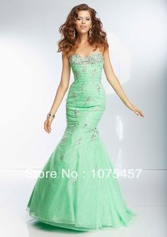 2014 New Fashion Mermaid Prom Dresses Organza Sweetheart  Appliques with Beading Floor Length Free Shipping PJ15