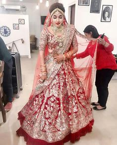End Customization with Hand Embroidery & beautiful Zardosi Art by Expert & Experienced Artist That reflect in Blouse , Lehenga & Sarees Designer creativity that will sunshine You & your Party. Indian Bridal Outfits, Indian Bridal Fashion, Indian Bridal Wear, Indian Dresses, Indian Lehenga, Red Lehenga, Designer Bridal Lehenga, Lehenga Wedding, Bridal Lehenga Choli