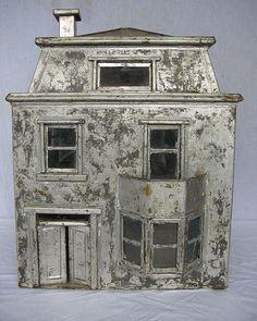 Handmade Antique Victorian Era Tin Dollhouse