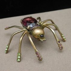 Rhinestone Spider Pin Vintage Figural Insect Brooch | eBay