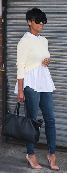 Cream Crop Top Casual Chic Style