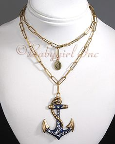 Lovely Bronze Tone Enameled Nautical Ships Anchor Necklace with Swarovski Crystals from Anne Koplik Jewelry