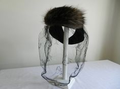Vintage Black Felt Tilt 40s Hat with Fur and by FrouFrou4YouYou, $85.00