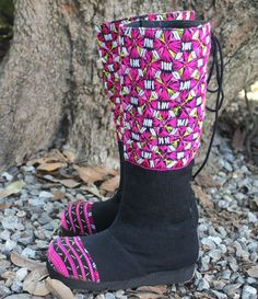 Vegan Moccasin Style Ethnic Womens Tall Boots In Karen Textiles by SiameseDreamDesign