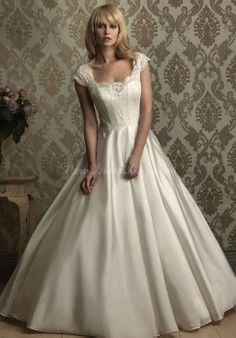 satin ball gown square neck cap Sleeveless floor-length chapel train wedding dress - newdress2014.com
