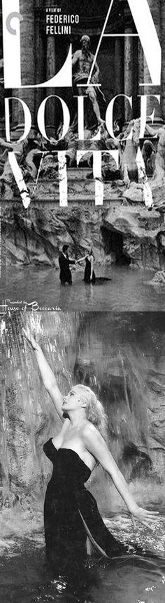 "~Anita Ekberg at the Fontana di Trevi in the Italian film classic, ""La Dolce Vita"" (Federico Fellini, 1960)   House of Beccaria#"