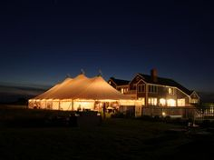 The warm summer evening glow under a tent. Use rope lights to create this fantastic display