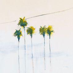 Papier peint Tiges – Cinq palmiers verts