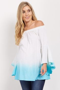 Funky and fresh, this gorgeous off shoulder maternity top is a definite must have! Add extra flair with its ombre hue and boho chic bell sleeves. With a light, comfortable material, you'll fall in love with this beautiful maternity top. Simply pair with maternity jeans and flats for a stylish look.