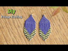 Diy Beaded Earrings Tutorial, Diy Earrings Pearl, Beaded Earrings Native, Beaded Earrings Patterns, Earring Tutorial, Fringe Earrings, Beading Patterns, Beads Tutorial, Beadwork Designs