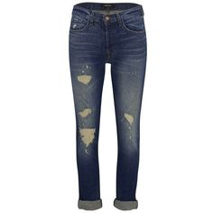 J Brand Women's Georgia Mid Rise Slim Fit Boyfriend Jeans - Blitz (126.070 CLP) ❤ liked on Polyvore featuring jeans, blue, ripped boyfriend jeans, torn boyfriend jeans, ripped blue jeans, mid-rise jeans et ripped jeans