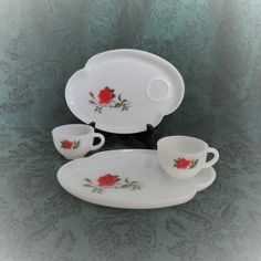 Rosecrest Lunch Set by Federal Glass/ Milk Glass Luncheon Plate and Cup/ Red Roses/ Vintage Glassware/ 1950s Dinnerware/ Gifts by TwoCousinsCollection on Etsy