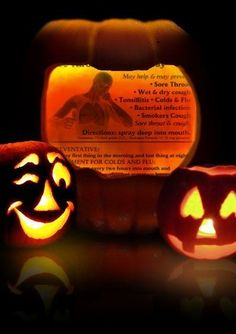 What Style will be the correct one for your publication? The Sore Throat Flyer is displayed in a pumpkin with two more pumpkins smiling
